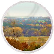 Across The River In Autumn Round Beach Towel