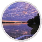 Across The River Round Beach Towel