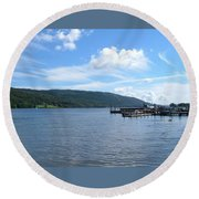 Across The Water Round Beach Towel