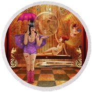 Act 4 Circus Pipe Dreams Alice In A Wonderland Round Beach Towel