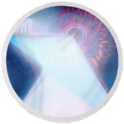 Round Beach Towel featuring the painting Act Of Creation by Denise Fulmer