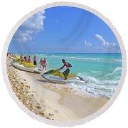 Round Beach Towel featuring the digital art Active Beach M3 by Francesca Mackenney