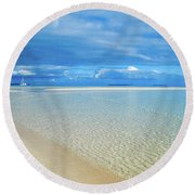 Adagio Alone In Ouvea, South Pacific Round Beach Towel