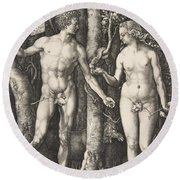 Adam And Eve, 1504  Round Beach Towel