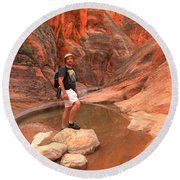 Adam Jewell At Red Cliffs Canyon Round Beach Towel