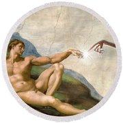 Adam's Creation Vrs Et Round Beach Towel by Gina Dsgn