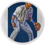 Addison Russell Chicago Cubs Art 2 Round Beach Towel