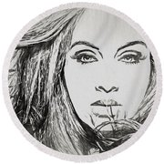 Adele Charcoal Sketch Round Beach Towel