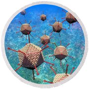 Adenovirus Particles 3 Round Beach Towel by Russell Kightley