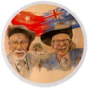 Round Beach Towel featuring the painting Adil Sahin And Len Hall by Ray Agius