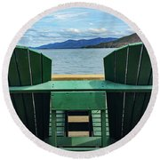 Round Beach Towel featuring the photograph Adirondack Chair For Two by Kendall McKernon