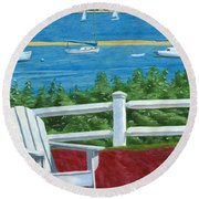 Round Beach Towel featuring the drawing Adirondack Chair On Cape Cod by Dominic White