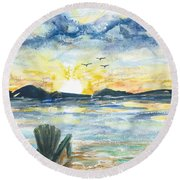 Round Beach Towel featuring the painting Adirondack Chairs With A View by Reed Novotny