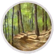 Adirondack Hiking Trails Round Beach Towel