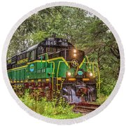 Adirondack Scenic Rr Engine 1845 Round Beach Towel