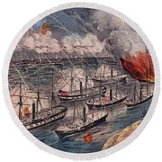 Admiral Farragut's Fleet Engaging The Rebel Batteries At Port Hudson Round Beach Towel