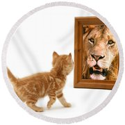 Admiring The Lion Within Round Beach Towel