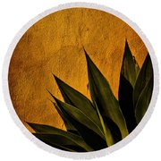 Adobe And Agave At Sundown Round Beach Towel