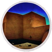 Adobe Church II Round Beach Towel