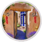 Adobe Door Round Beach Towel