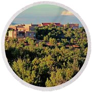 Round Beach Towel featuring the photograph Adobe Homestead Santa Fe by Diana Mary Sharpton