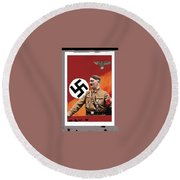 Adolf Hitler In Color With Nazi Symbols Unknown Date Additional Color Added 2016 Round Beach Towel