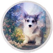 Adorable Corgi Puppy Round Beach Towel