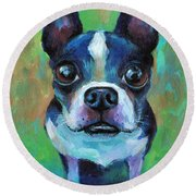 Adorable Boston Terrier Dog Round Beach Towel by Svetlana Novikova