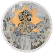 Adoration Art Deco Round Beach Towel