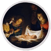 Adoration Of The Child Round Beach Towel