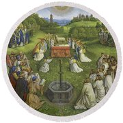 Adoration Of The Mystic Lamb Round Beach Towel