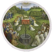 Adoration Of The Mystic Lamb Round Beach Towel
