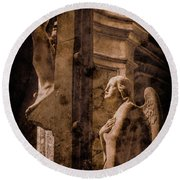 Round Beach Towel featuring the photograph Paris, France - Adoring Angel by Mark Forte
