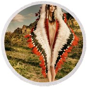 Adorned Feathered Nude Round Beach Towel