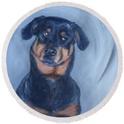 Round Beach Towel featuring the painting Adrian by Donna Tuten