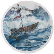 Round Beach Towel featuring the painting Adrift At Sea by Reed Novotny