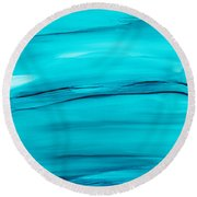 Round Beach Towel featuring the painting Adrift In A Sea Of Blues Abstract by Nikki Marie Smith