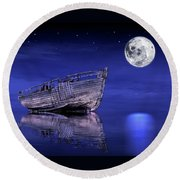 Round Beach Towel featuring the photograph Adrift In The Moonlight - Old Fishing Boat by Gill Billington