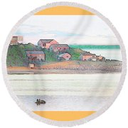 Adrift On The Bay At Sunset Round Beach Towel