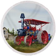 Round Beach Towel featuring the painting Advance Rumely Steam Traction Engine by James Williamson