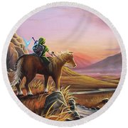 Adventure Awaits Round Beach Towel