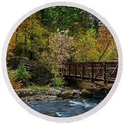 Round Beach Towel featuring the photograph Adventure Bridge by Scott Read