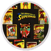 Adventures Of Superman Round Beach Towel