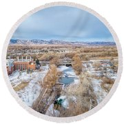 aerial cityscape of Fort Collins Round Beach Towel