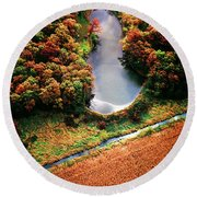 Round Beach Towel featuring the photograph Aerial Farm Big Foot Pond by Tom Jelen