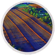 Aerial Farm Field Harvested At Sunset Round Beach Towel