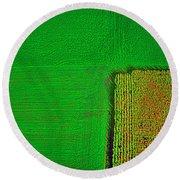 Aerial Farm Mchenry Il  Round Beach Towel by Tom Jelen