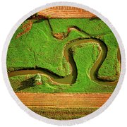 aerial, farm, stream, northern, Illinois, farms, meandering  Round Beach Towel