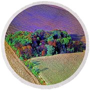 Round Beach Towel featuring the photograph Aerial Farm Tree Top Grove  by Tom Jelen