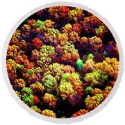 Round Beach Towel featuring the photograph Aerial Farm Tree Tops Fall Ff by Tom Jelen